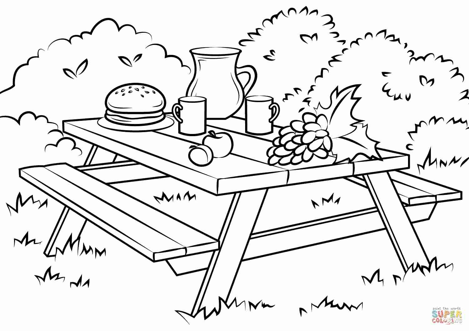 1500x1060 Picnic Table Coloring Page Free Printable Pages Striking Color