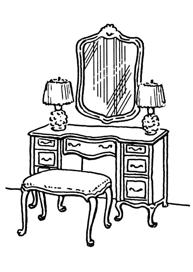 620x875 Coloring Page Dressing Table