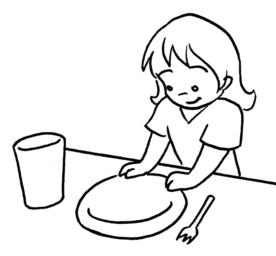 966x896 Table Setting Coloring Pages