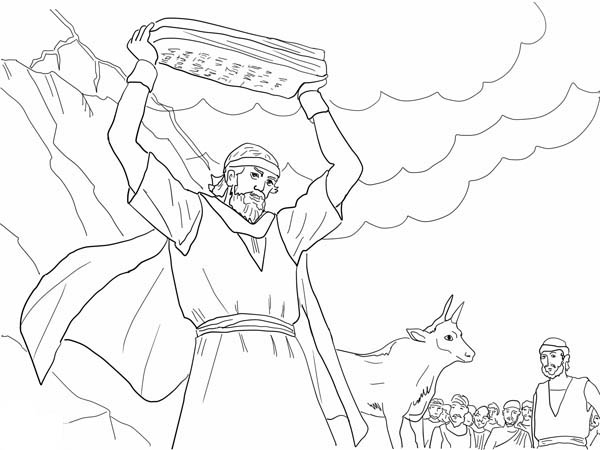 600x450 Moses Breaking The Tablets Of Law Coloring Page Color Luna
