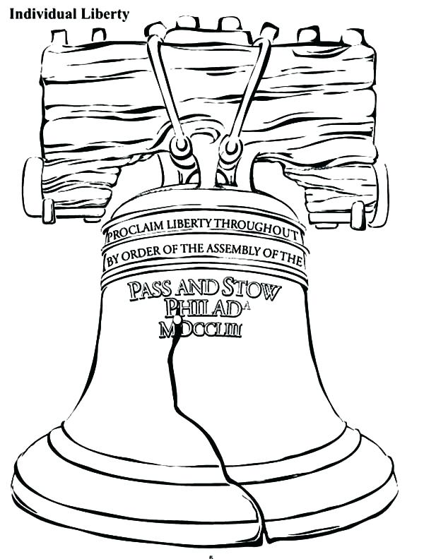 600x792 Bells Coloring Pages Bell Coloring Page Individual Liberty Bell