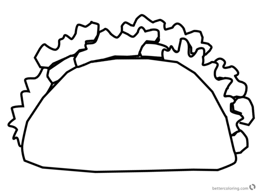 1070x800 Mexican Taco Coloring Pages Black And White