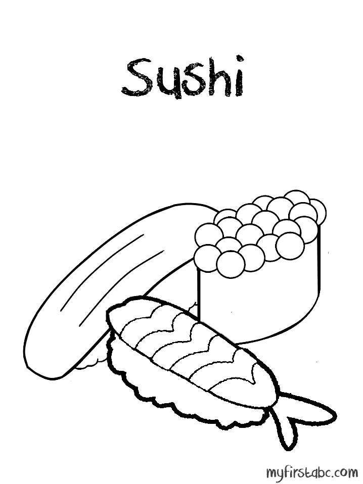 718x958 Sushi Coloring Page