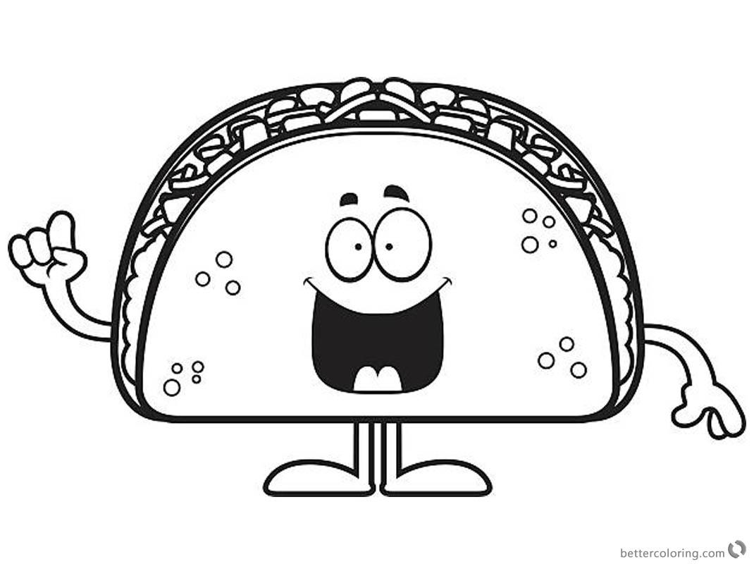 1070x800 taco coloring page smile cartoon taco