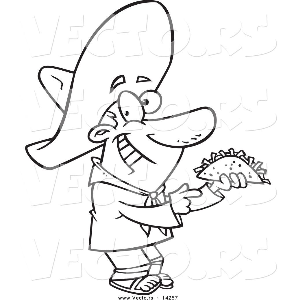 1024x1044 Vector Of A Cartoon Happy Hispanic Man Holding A Taco