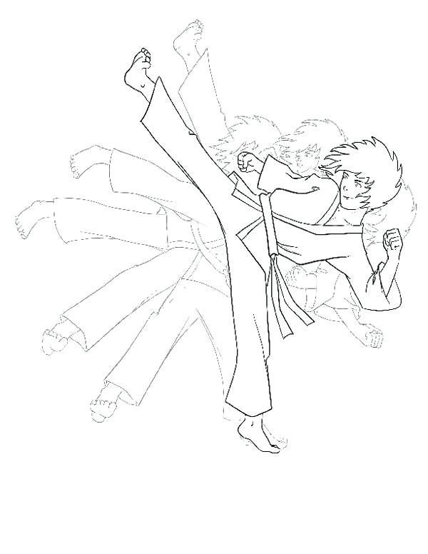 600x776 Taekwondo Coloring Pages Karate Kid Shadow Kick Coloring Page Free
