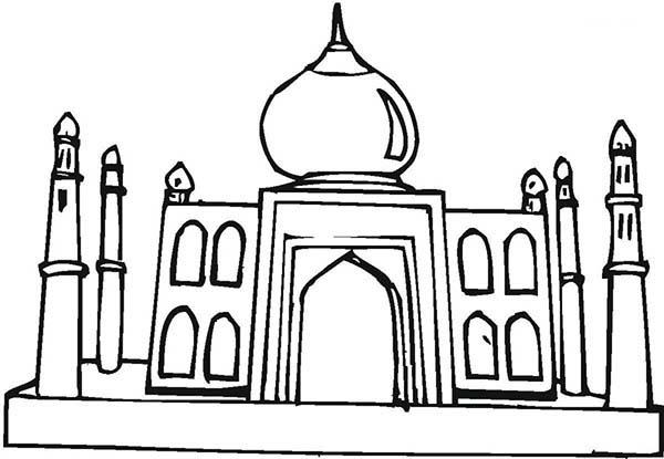 600x415 Depiction Of Taj Mahal Coloring Page