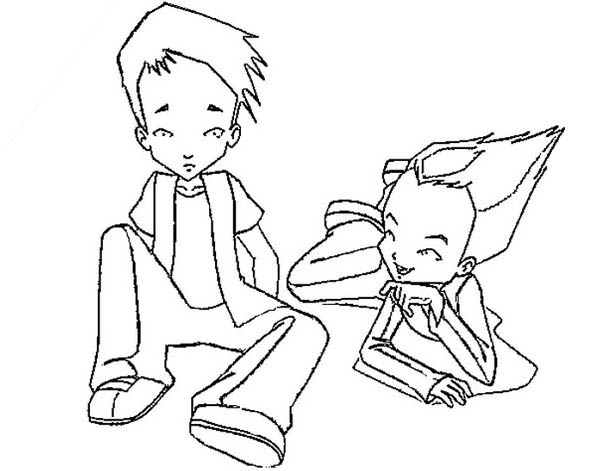 600x471 Code Lyoko Paul And Ulrich Talking Coloring Pages Batch Coloring