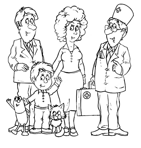 600x627 Doctor Talking With A Joint Family Coloring Pages Batch Coloring