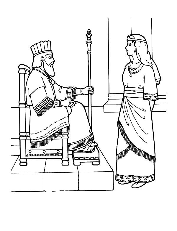 600x780 Queen Esther Talking To King Coloring Pages