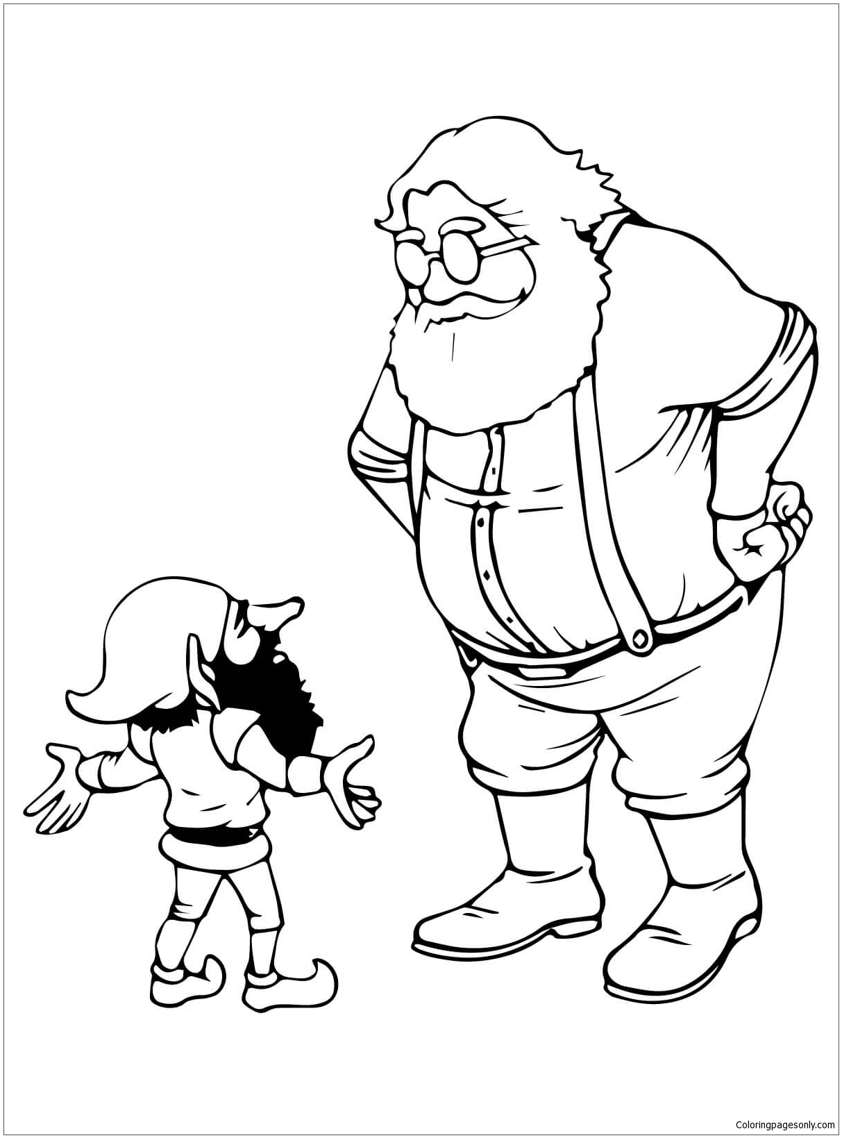 1213x1639 Santa And Christmas Elf Talking Coloring Page