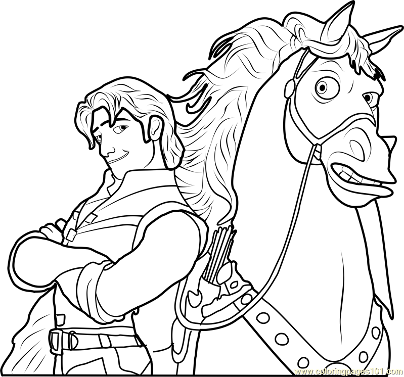 799x746 Flynn With Maximus Coloring Page