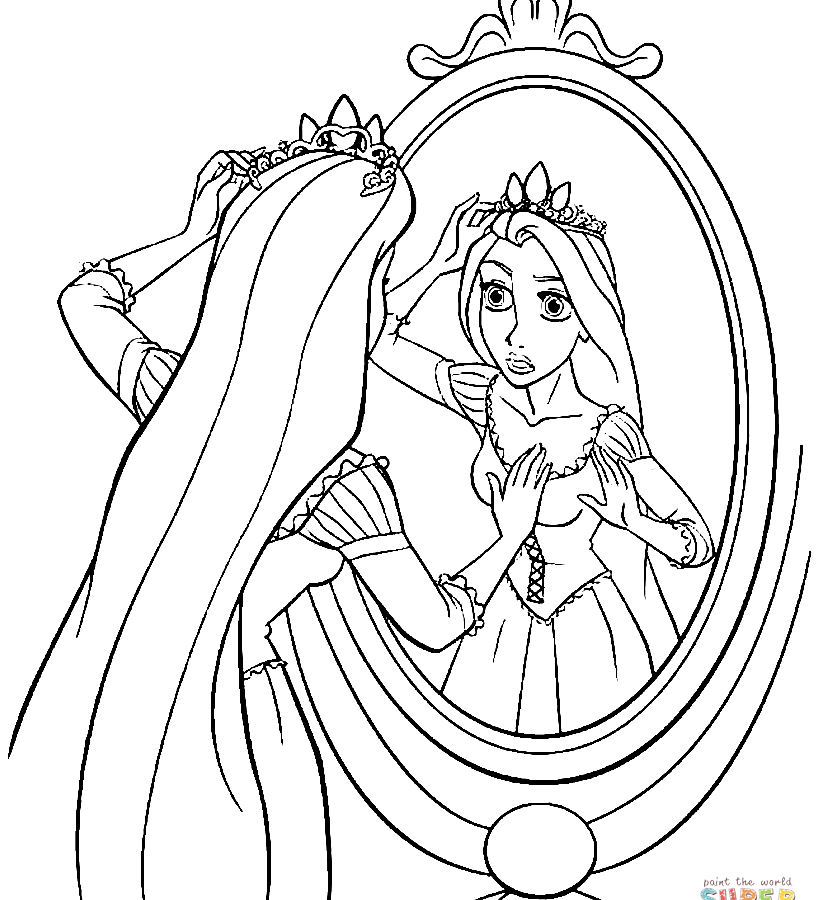 819x900 Flynn And Rapunzel Coloring Page Free Printable Wonderful Pages