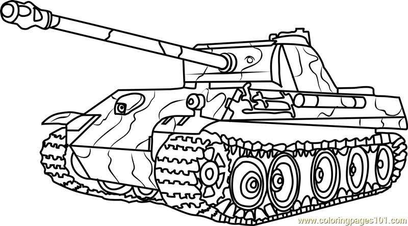 800x443 German Panther Army Tank Coloring Page