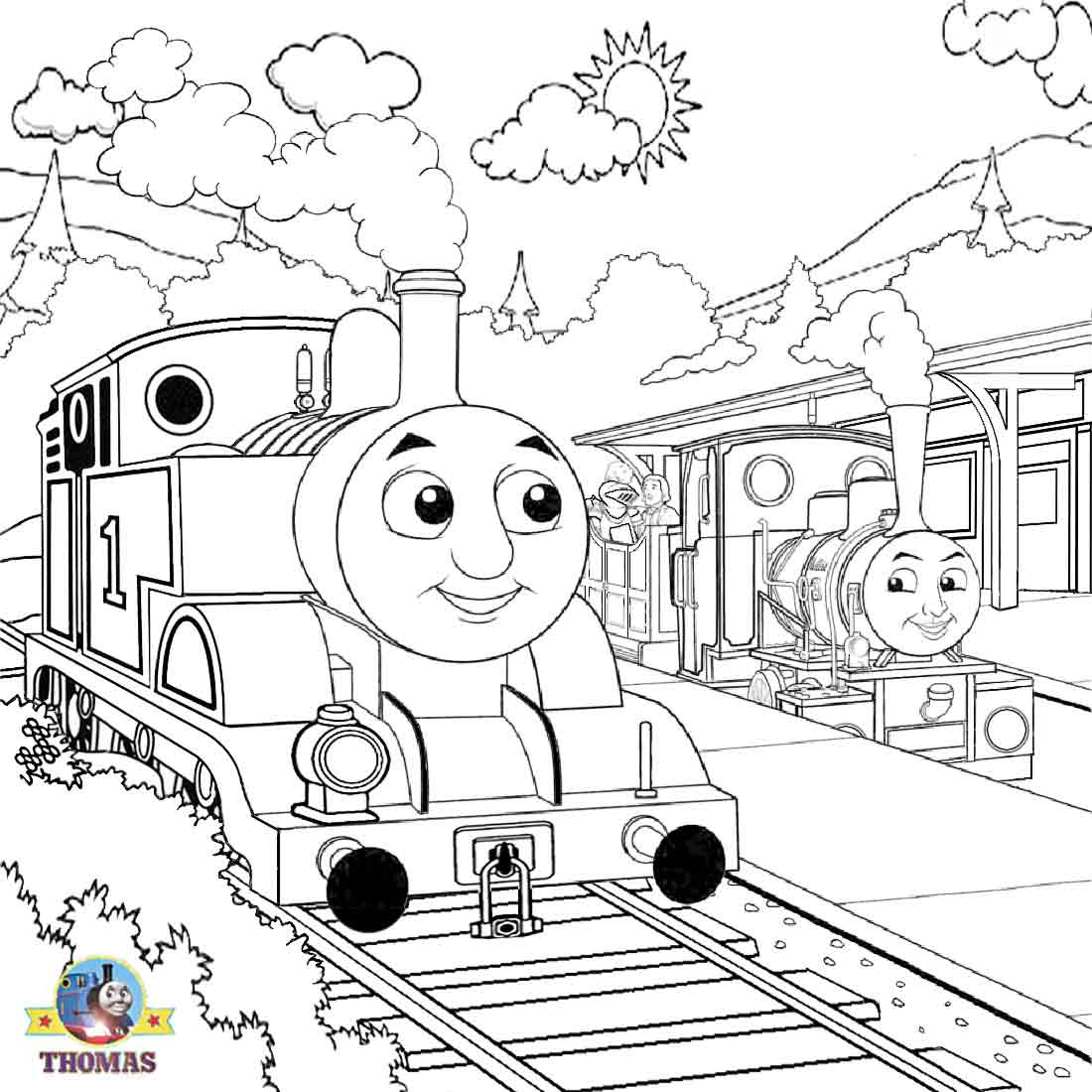 1100x1100 Thomas The Tank Engine Coloring Pages