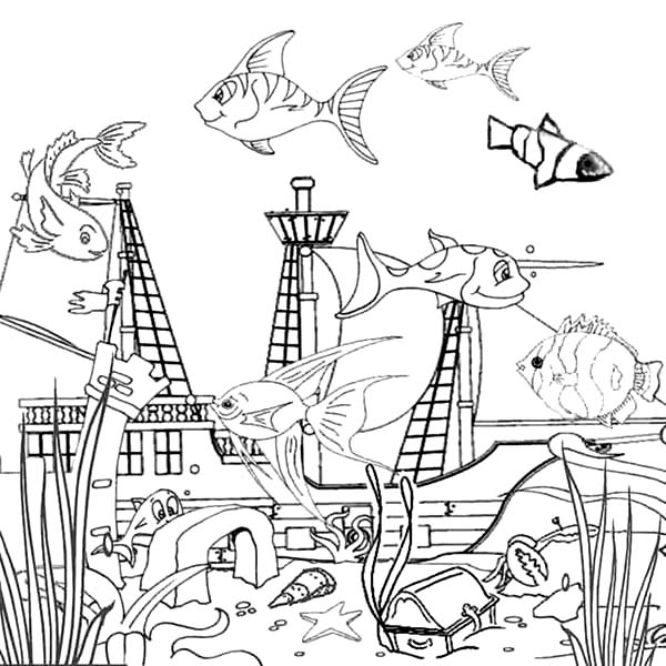 600x600 Drowning Galeon Inside Fish Tank Coloring Page