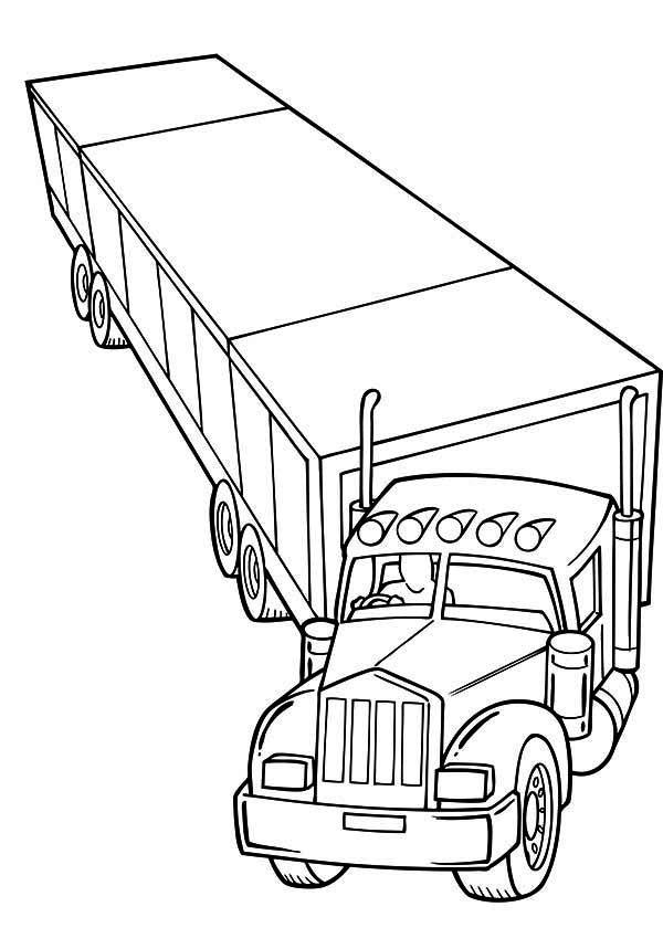 600x859 Trailer Semi Truck Coloring Page