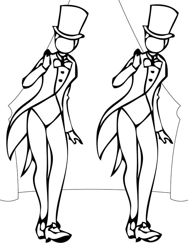 600x776 Two Girl Performing Tap Dance Coloring Page Two Girl Performing