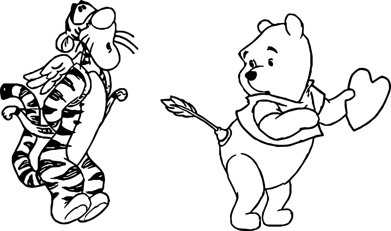 2424x1432 Pooh Tigger Cupid Wrong Target Arrow Coloring Page Wecoloringpage