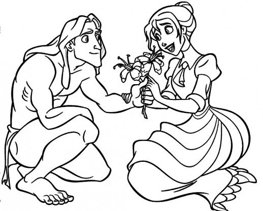 518x416 Tarzan And Jane Falling In Love Each Other Coloring Pages