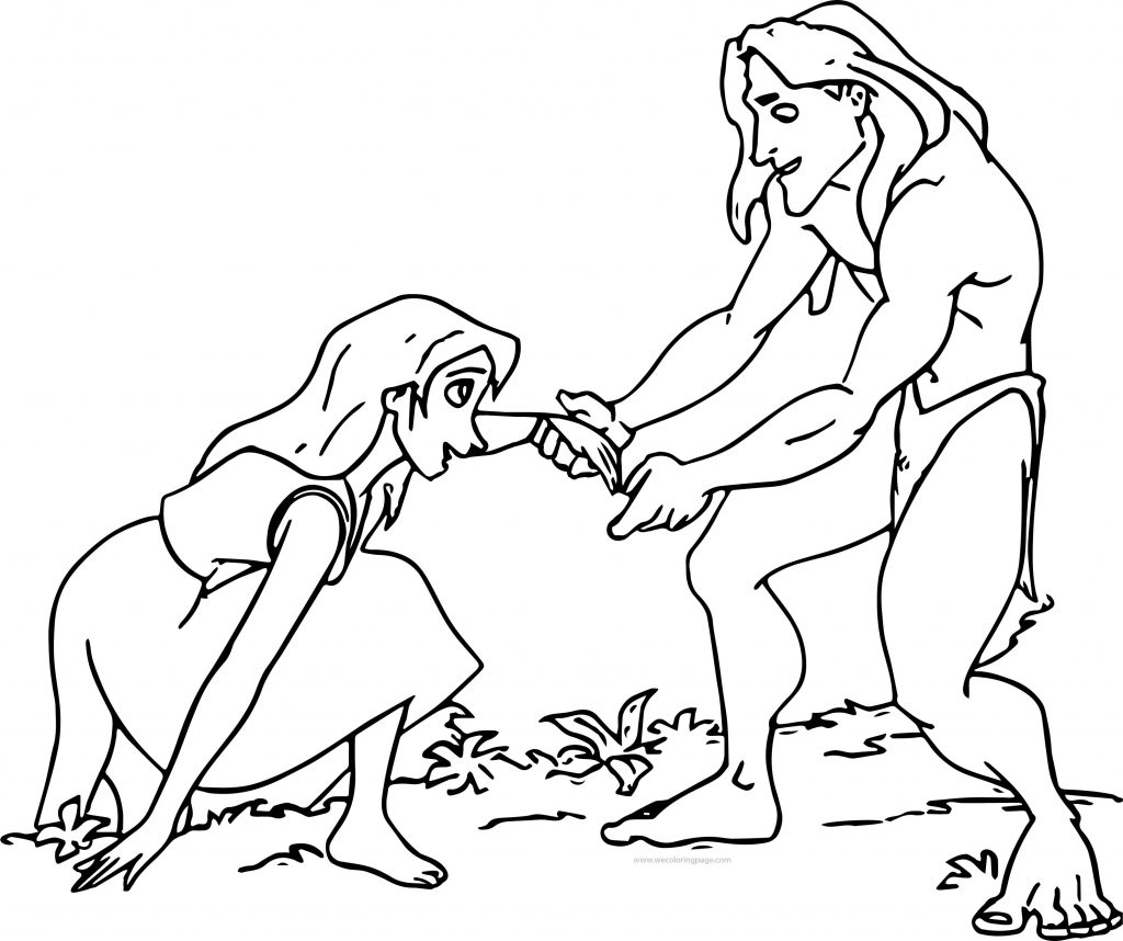 1024x858 Tarzan And Jane Help Coloring Pages Wecoloringpage