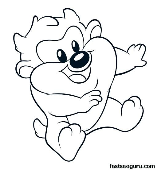524x551 Tasmanian Devil Coloring Pages Baby Devil Cartoon Coloring Pages