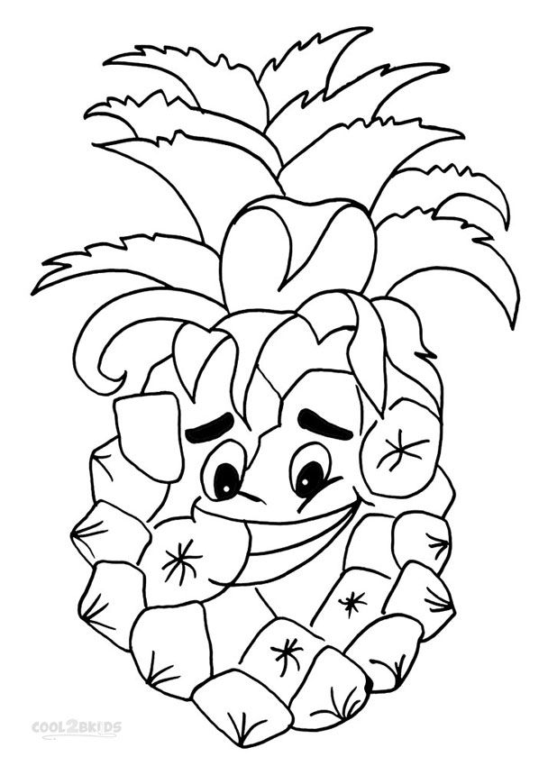 618x850 Printable Pineapple Coloring Pages For Kids Fruits