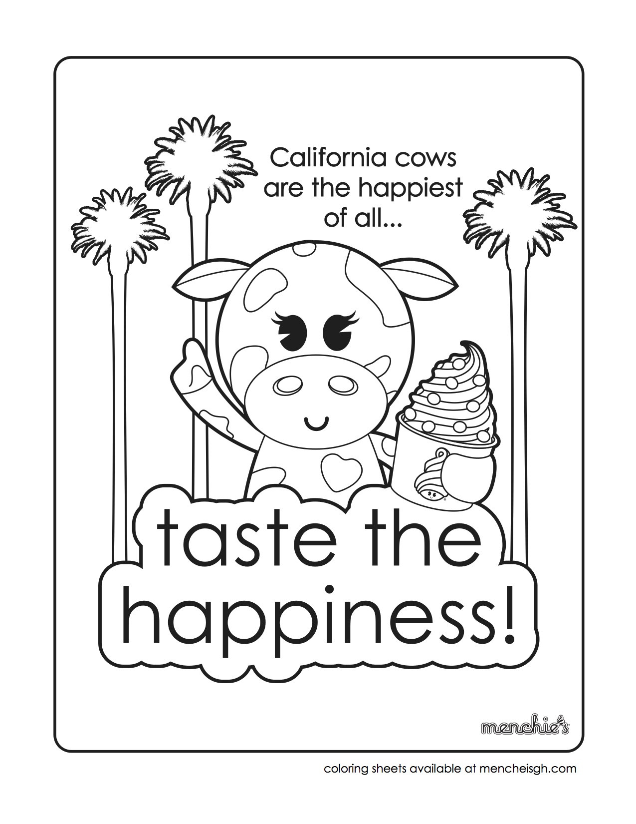 1275x1650 Taste Happiness Coloring Sheet Within Menchies Pages