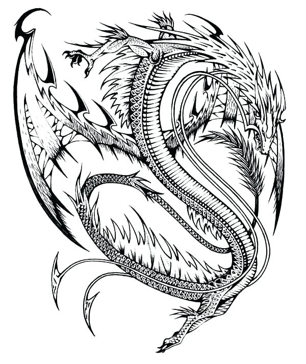 600x713 Dragon Art Coloring Pages Dragon Tattoo Design Coloring Pages Neon