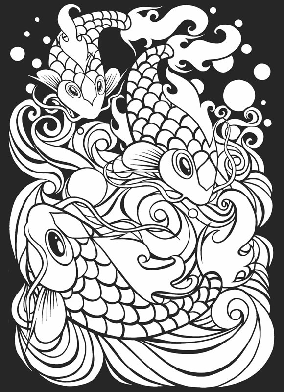 580x800 Japanese Fish Coloring Page Tattoo Art Stained Glass Pages