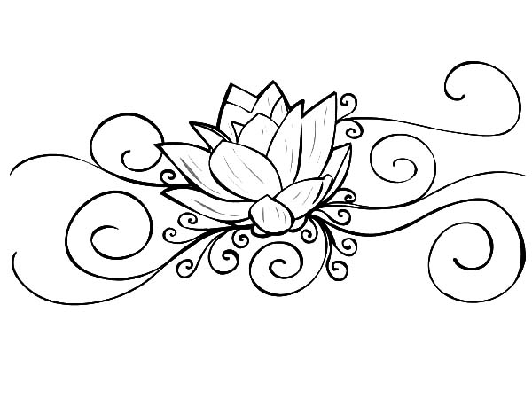 600x450 Lotus Flower Tattoo Coloring Pages Batch Pertaining To Decor