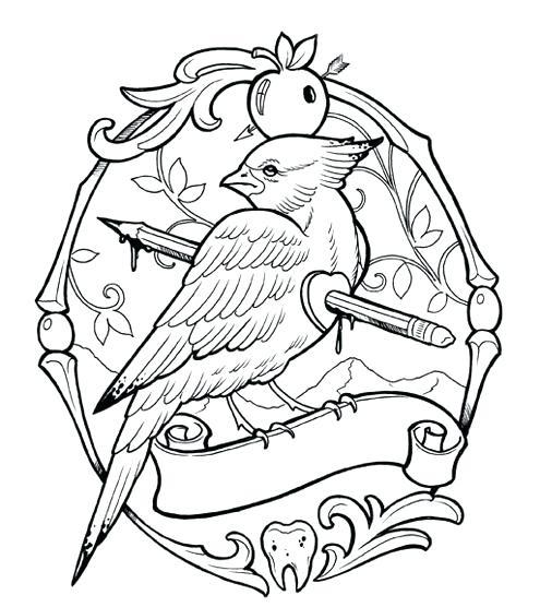 495x556 Tattoo Coloring Pages Tattoo Coloring Pages Bird Free Printable
