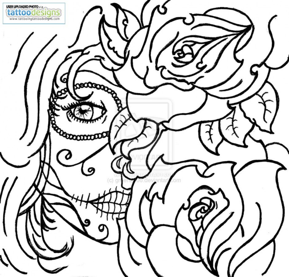 940x900 Sugar Skull Rose Tattoo Coloring Pages Coloring