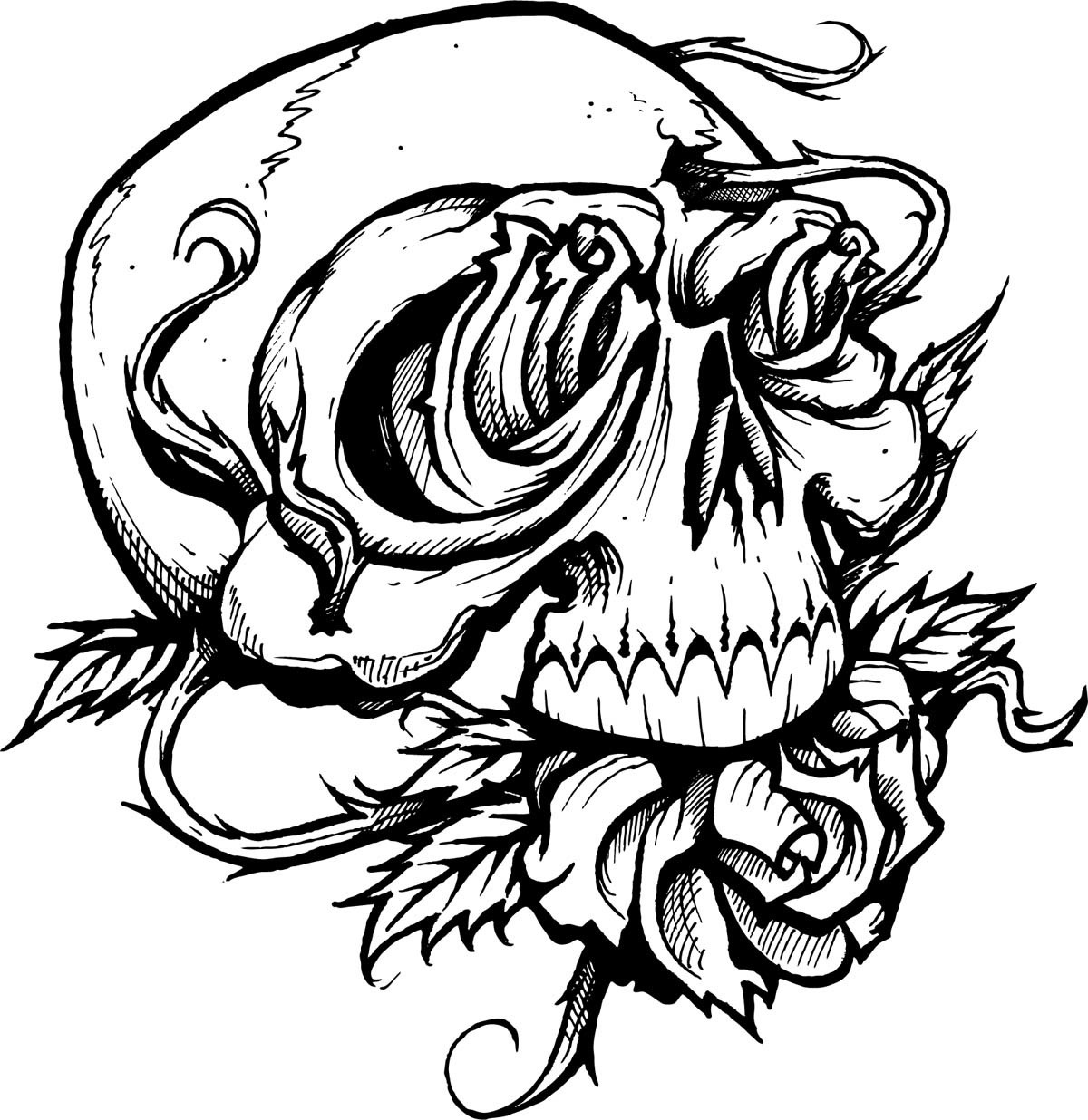 1200x1236 Super Cool Ideas Tattoo Coloring Pages Rose And Skull Coloringstar