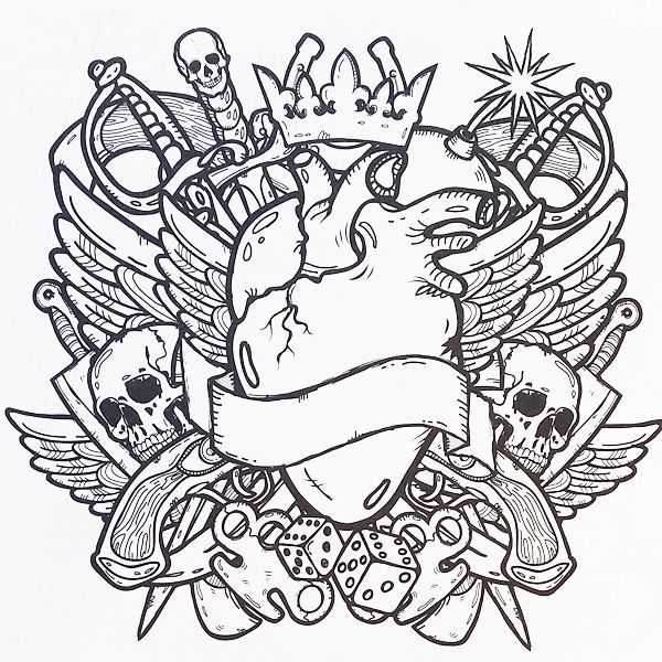 600x600 Tattoo Coloring Pages