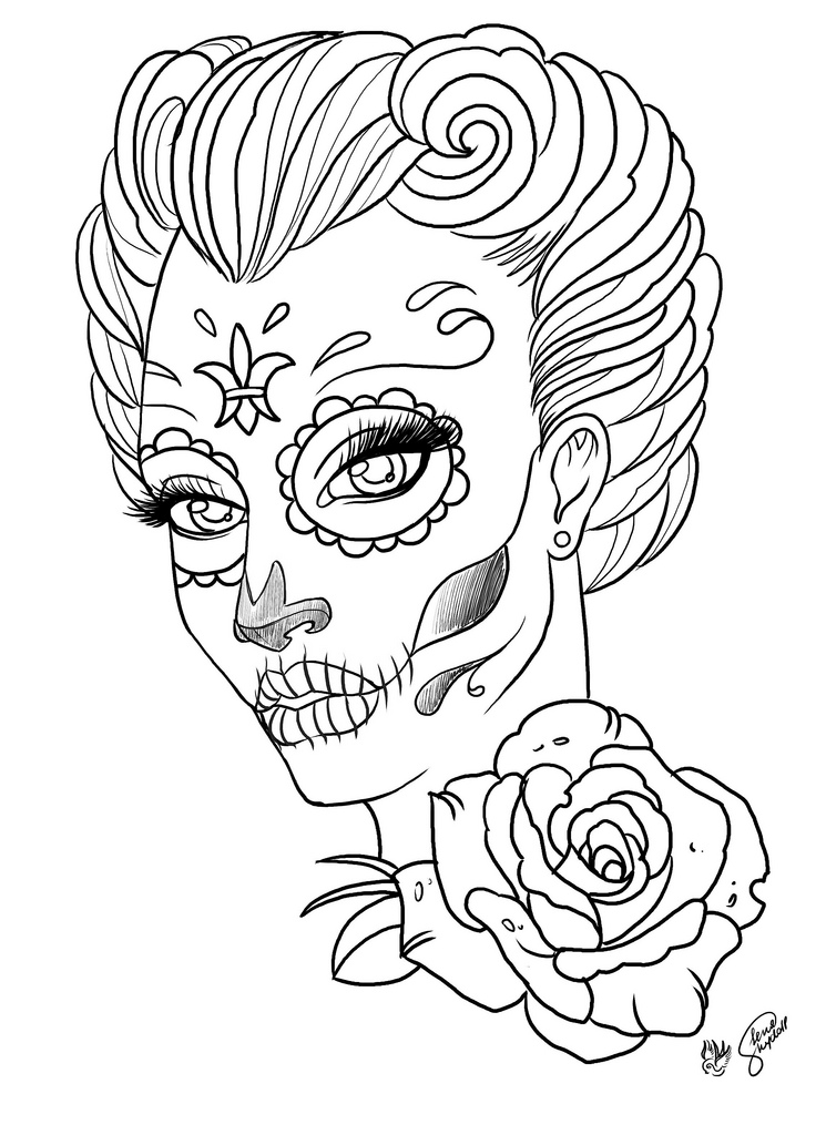 745x1024 Coloring Pages Coloring Pages For Adult Tattoo Sugar Skull Day