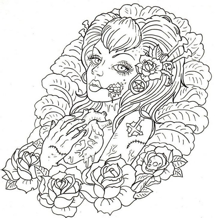 716x728 Tattoo Coloring Pages For Adults Printable In Pretty Draw Photo