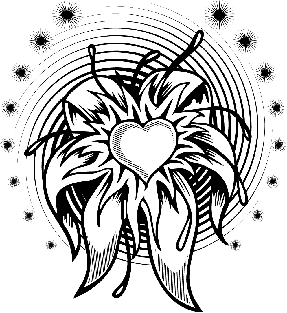 992x1080 Coloring Page Of A Flower Heart Tattoo Design With A Spiral
