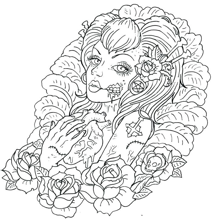 736x722 Design Coloring Pages Tattoos Coloring Pages Zombie Tattoos