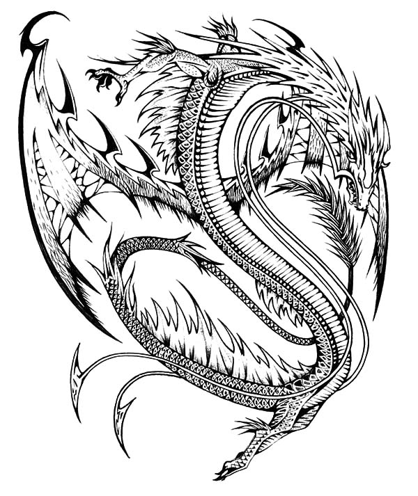 600x713 Chinese Dragon Tattoo Design Coloring Pages