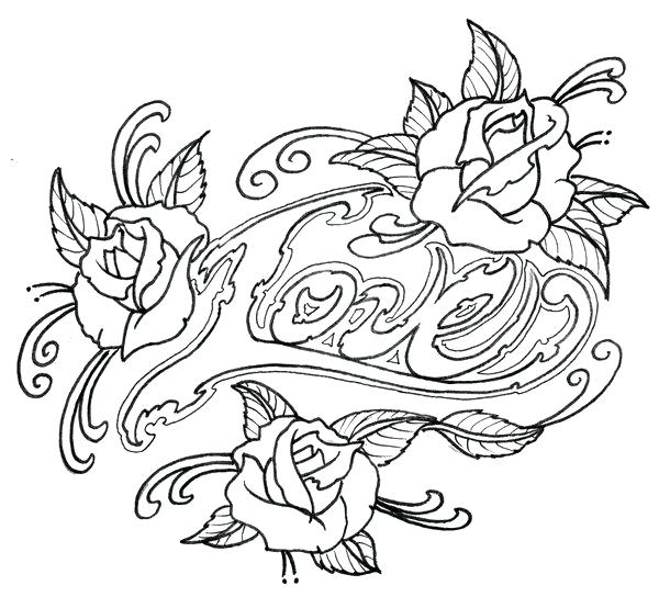 600x544 Tattoos Coloring Pages Outline