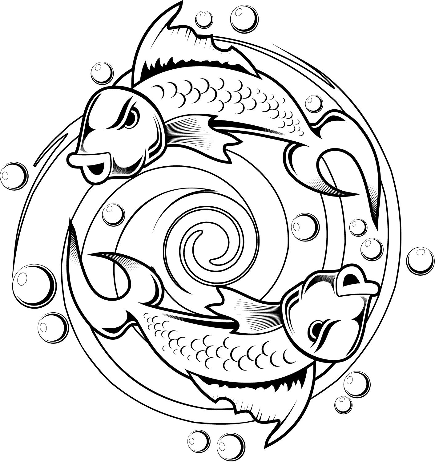 1413x1500 Kids Coloring Pages Of A Koi Fish Tattoo Design