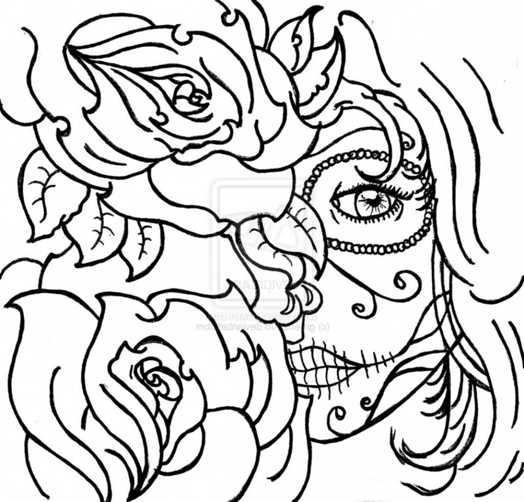 1069x1024 Coloring Page Skull Sugar Mexican Candy Gypsy Candy Skull Roses