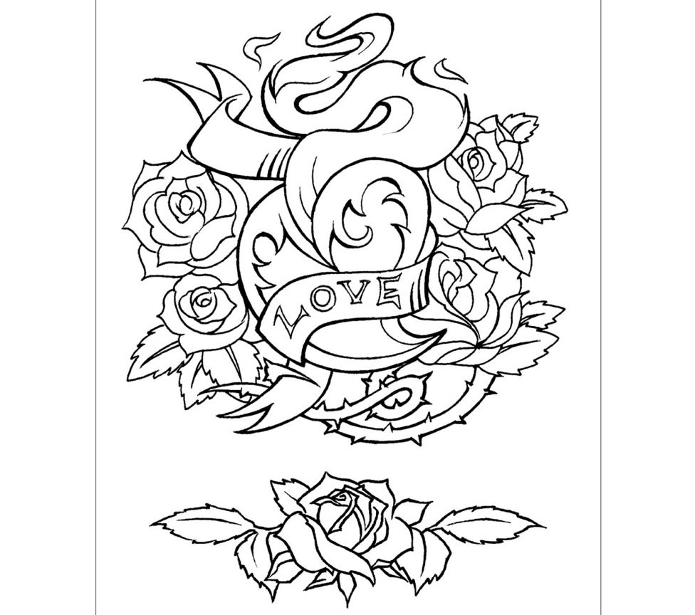 976x864 Coloring Pages Of Hearts Tattoo Designs Printable Tattoos