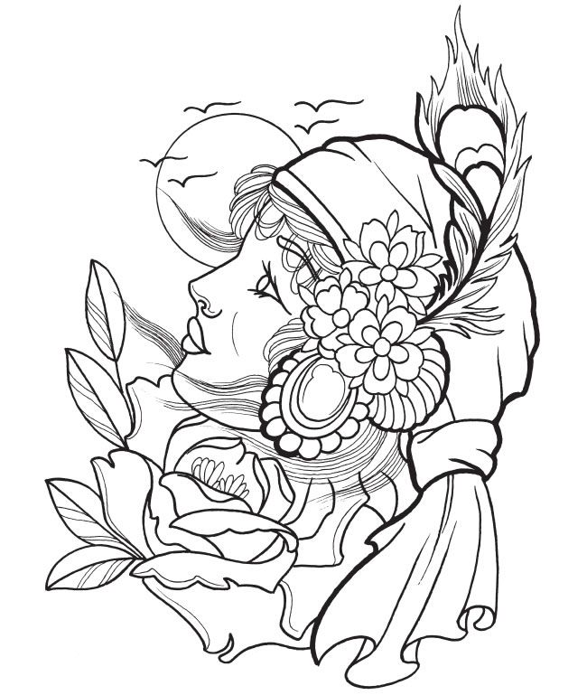 650x769 Creative Haven Modern Tattoo Designs Coloring Book Dover