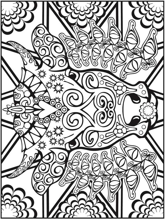 650x864 Dover Publications Creative Haven Animal Calaveras Coloring Book