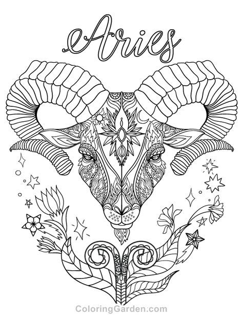 474x613 Free Printable Zodiac Adult Coloring Page Featuring Aries The Ram