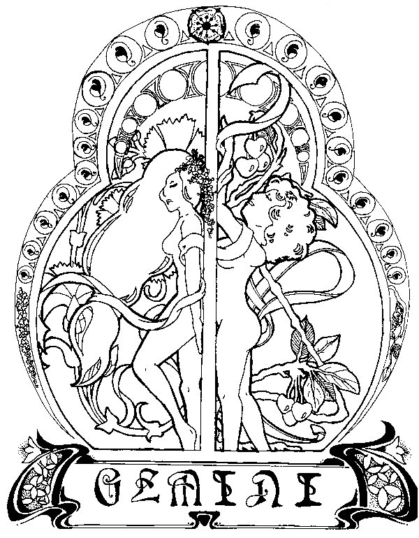 600x770 Adult Coloring Page Astrology Gemini