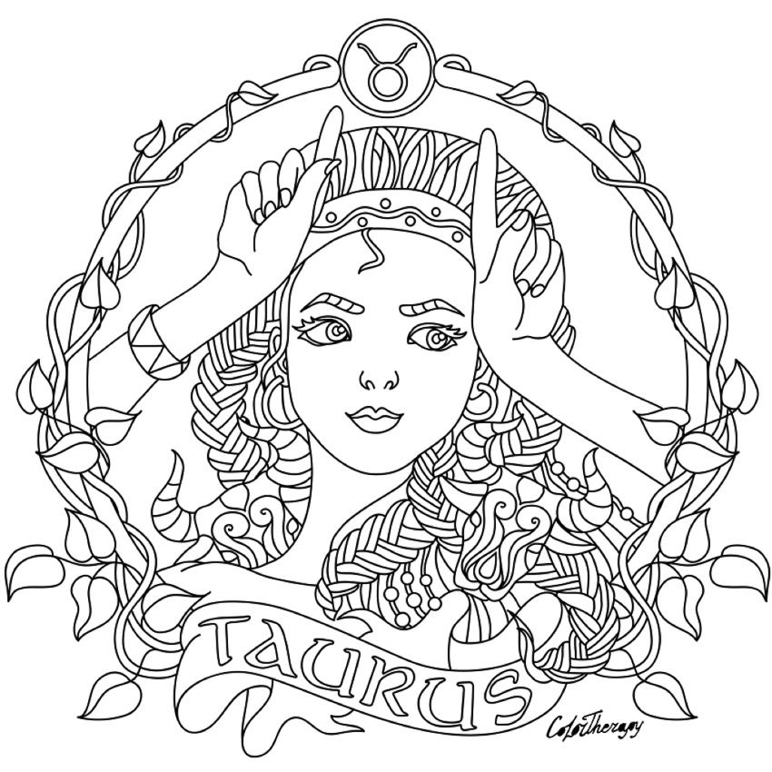 850x850 Taurus Zodiac Beauty Colouring Page Coloring Collections