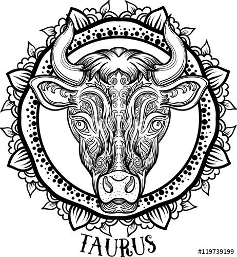 462x500 Taurus In Aztec Style Coloring Page Colouring Zodiac